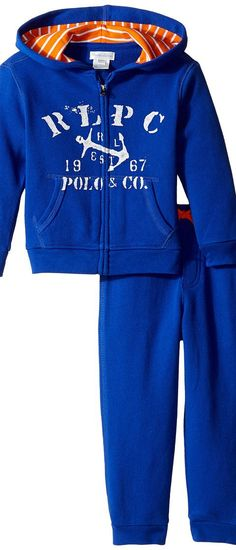 Ralph Lauren Baby Atlantic Terry Hookup Pants Set (Infant) (Cruise Royal) Boy's Active Sets - Ralph Lauren Baby, Atlantic Terry Hookup Pants Set (Infant), 320637745003-400, Apparel Sets Active, Active, Sets, Apparel, Clothes Clothing, Gift, - Street Fashion And Style Ideas