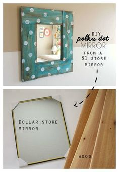 Polka dots never go out of style! Create this stellar mirror by surrounding it with wood pallets.