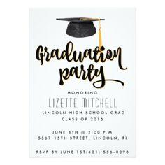 Convite de festas do formando do boné de formatura