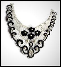Faux col dentelle brodée fleurs noires et blanches, perles - mercerie - couture - tricot - embellissement - customisation.- cérémonie - mariage.