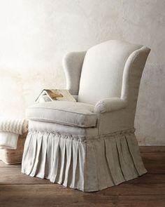 What a wonderful way to redo an old wing chair. by angelique
