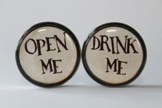 Alice in Wonderland Plugs gauges:  Drink/Open Me, 00g, 7/16, 1/2, 9/16, 5/8, 3/4, 7/8, 1 inch on Etsy, $18.00