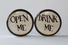 Alice in Wonderland Plugs gauges:  Drink/Open Me, 00g, 7/16, 1/2, 9/16, 5/8, 3/4, 7/8, 1 inch on Etsy, $18.00