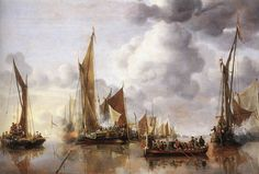 Jan van de Cappelle | 1650 | The Home Fleet Saluting the State Barge