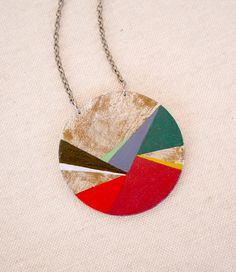 Geometric hand painted pendant multicolor  Large by VictoriAtelier