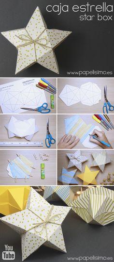 caja de cartulina facil con forma de estrella plantilla gratis