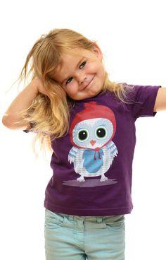 Süßes Kindershirt mit Eule, faire Biobaumwolle
