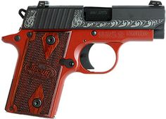 What a cute gun! Sig Sauer P238 Lady, Red Frame, Black Finish, Scrollwork