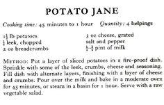 WWII Potato Jane Recipe