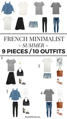 9 Pieces / 10 Outfits: French Minimalist Summer - Classy Yet Trendy Turn 9 tops ., 9 Pieces / 10 Outfits: French Minimalist Summer - Classy Yet Trendy Turn 9 tops ., 9 Pieces / 10 Outfits: French Minimalist Summer - Classy Yet Tren. Travel Wardrobe, Summer Wardrobe, French Capsule Wardrobe, Travel Outfit Summer, Summer Outfits, Packing Light Summer, Travel Packing Outfits, Travel Capsule, Preppy Outfits