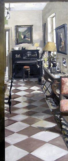 galerieduchateau LE PIANO DES MUREAUX Huile sur toile 163 x 57 cm / Oil on canvas 64,2 x 22.4 inches Vendue