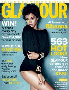 rihanna on the cover of uk glamour january 2014