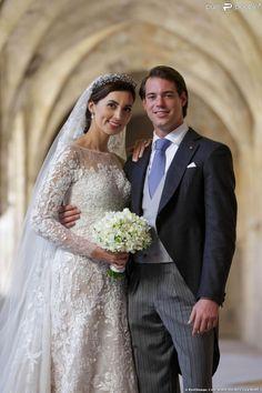 Photo lors du mariage religieux du prince Felix de Luxembourg et de la princesse Claire de Luxembourg (née Lademacher) en la basilique Sainte-Marie-Madeleine de Saint-Maximin-la-Sainte-Baume, le 21 septembre 2013. Le couple a annoncé le 14 janvier 2014 attendre son premier enfant.