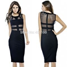 Find More Dresses Information about 2014 New Vestidos Women Black Mesh Patchwork Midi Bodycon Bandage Dress Summer Elegant Casual Dress Women Work Wear HW0080,High Quality Dresses from Proto Nail Art & Beauty Products Wholesales on Aliexpress.com