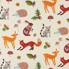 Animals in the Woods - Cotton - Polyester - natural