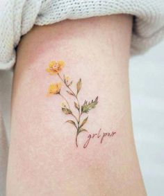 colored botanical tiny feminine flower tattoo #girltattoos #smalltattoos