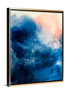 Blue Abstract Art - Oceans gold framed canvas art by Lindsay Letters.