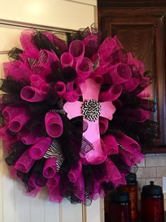 Breast Cancer Awareness Month Spiral Deco Mesh Wreath