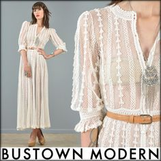 vtg 70s cream CROCHET cutout lace wedding MAXI dress