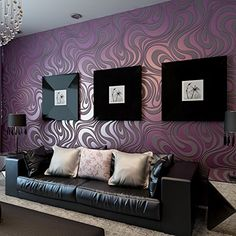 QIHANG Modern Luxury Abstract Curve 3d Wallpaper Roll Mural Papel De Parede Flocking for Striped Purple Color 0.7m*8.4m=5.88SQM