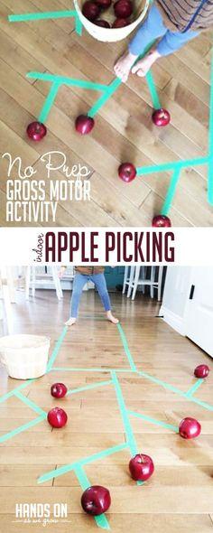 No Prep Gross Motor Indoor Apple Picking Activity | HOAWG