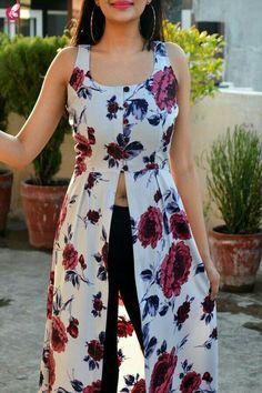 Best 12 Buy Powder Blue Floral Printed Crepe Front Slit Kurti Online in India Simple Kurti Designs, Kurta Designs Women, Stylish Dress Designs, Designs For Dresses, Blouse Designs, Girls Fashion Clothes, Fashion Outfits, Maxi Outfits, Clothes For Women