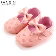 61c9c0594d1 Embroidery Baby Girl PU Leather Heart Soft Shoes Newborn Bottom Bowknot Soft  Soled Footwear Crib Shoe