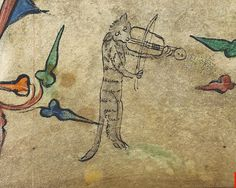 Cat playing rebec. England c.1320-30. detail. Harley 6563. BL by tony harrison, via Flickr