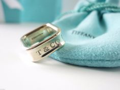 Pretty Tiffany & Co. Sterling Silver Square Cushion 1837 Ring Size 6 by Tiffanytreasureshop on Etsy