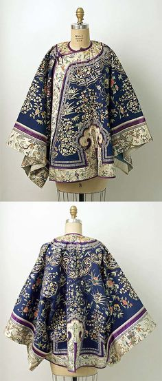 Wooaaa the pattern seems ancient. I don't think it's warm enough for cold weather, but it's pretty isn't it? - Coat, 1850–1900, Chinese, silk, metal