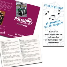 Concert booklet and flyers for Close Harmony Student Choir Musilon from University of Twente   Interested in a design? www.beeldkrachtontwerp.nl