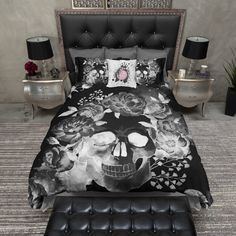 Black Night Watercolor Skull Duvet Bedding Sets