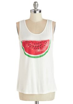 Mellow Melon Tank. Whats a sunny day without relaxation and fruity treats? #white #modcloth