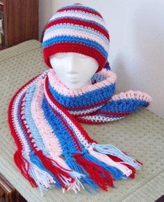 Colorful Beanie Hat & Extra Long Fringed Striped Scarf