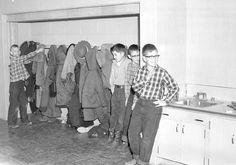 In elementary school we had coat rooms