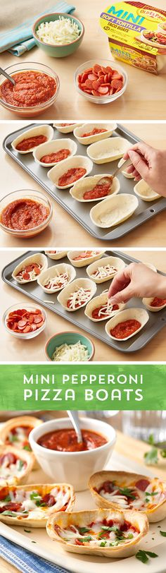 These Mini Pepperoni Pizza boats are great for dinner or a snack. Fill Old El Paso™ Mini Taco Boats with your favorite pizza sauce, mini pepperonis and shredded mozzarella, then pop them in the oven. Yummy Snacks, Snack Recipes, Cooking Recipes, Yummy Food, Pizza Recipes, Healthy Desserts, Dessert Recipes, Pizza Boats, Taco Boats