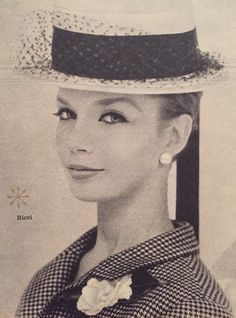 Nina Ricci- 1959 While hat with black ribbon and tulle. Elle No. 688- March 2, 1959