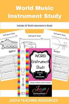 Involve your students in their learning about World Music Instruments. Students will love choosing and instrument to research and study. A perfect accompaniment to the World Music Unit of Work!