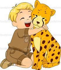a cheetah and a boy