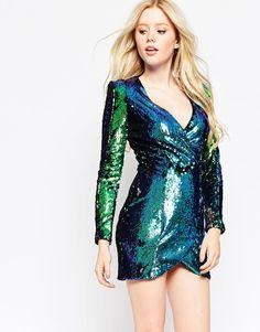 Mind Plunge Dress In Iridescent Sequins $44.10*