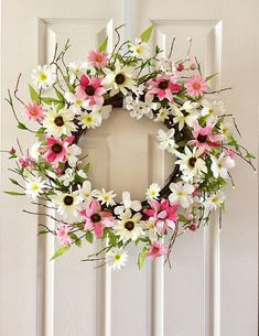 Wreath for front door, Summer wreath, Spring wreath, Floral wreath, Front door wreath, Flower wreath. Everyday wreath. The wreath is using high quality artificial flowers and leaves on a natural branch wreath base which bright up your spring and summer season. The wreath diameter
