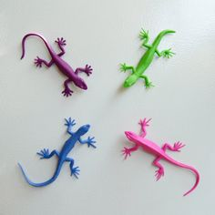 This set of brightly colored lizards is coming to take over your refrigerator! They have great detail and come in four colors. Each is four inches