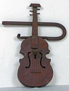 c.1880's Hand-forged Iron Violin Padlock (14'h)....