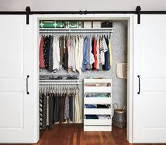 Too much stuff, too little space, too many wardrobe woes. Real Simple helped a busy working mom transform her clothes closet, from what& in it to where it all goes. This two-part solution will work wonders for yours, too. Bedroom Closet Doors, Barn Door Closet, Sliding Closet Doors, Diy Bedroom, Design Bedroom, Bedroom Curtains, Bedroom Wardrobe, Work Wardrobe, Wardrobe Ideas