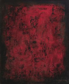 ZAO WOU-KI (ZHAO WUJI) 1920-2013 AUTOUR DU FEU (AROUND THE FIRE) signed in Chinese and Pinyin and dated 55; signed in Pinyin, titled and dated 55 on the reverse; oil on canvas 21 5/8  by 18 1/4  in.