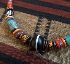 Men's -unisex Tribal Necklace Vintage Venetian trade beads tibet bone beads, Dzi Bead,Necklace by lovich on Etsy https://www.etsy.com/listing/495272233/mens-unisex-tribal-necklace-vintage