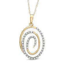 1/10 CT. T.W. Diamond Oval Swirl Pendant in 10K Gold