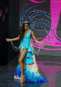 Sharie de Castro, Miss British Virgin Islands 2013, models in the National Costume contest at Vegas Mall on November 3, 2013. (Credit: Darren Decker/Miss Universe2013