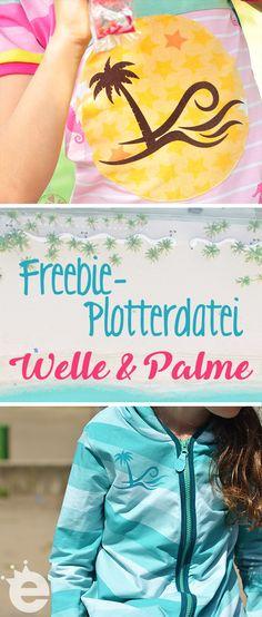 Plotterdatei gratis , Freebie für den Plotter: Welle mit Palme