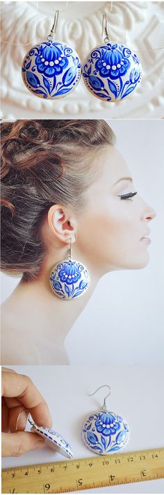 Hey, I found this really awesome Etsy listing at https://www.etsy.com/listing/237285893/earrings-of-wood-with-hand-painted-blue